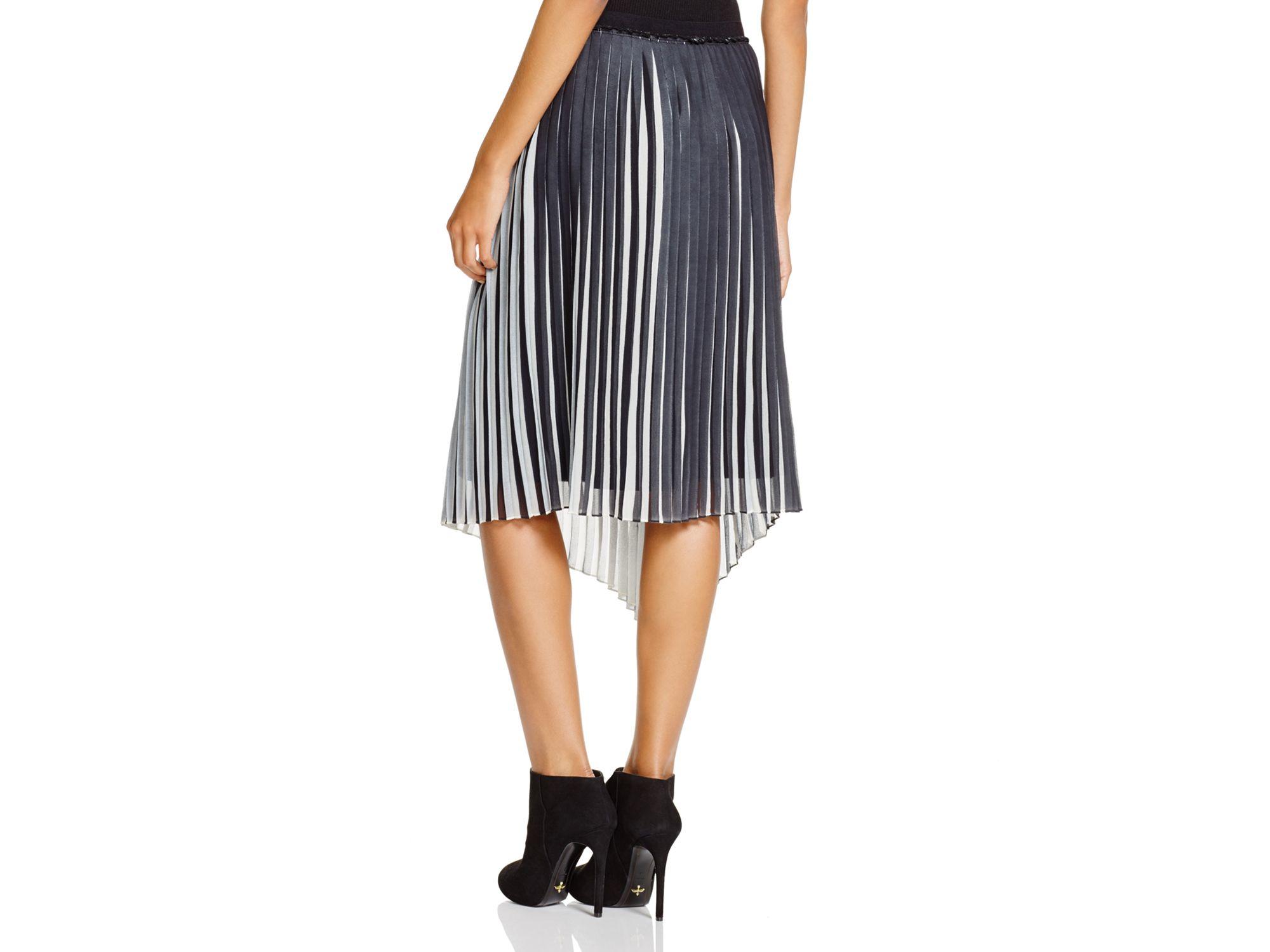 69d5c31e09 DKNY Pure Color Block Asymmetric Pleated Skirt in Black - Lyst