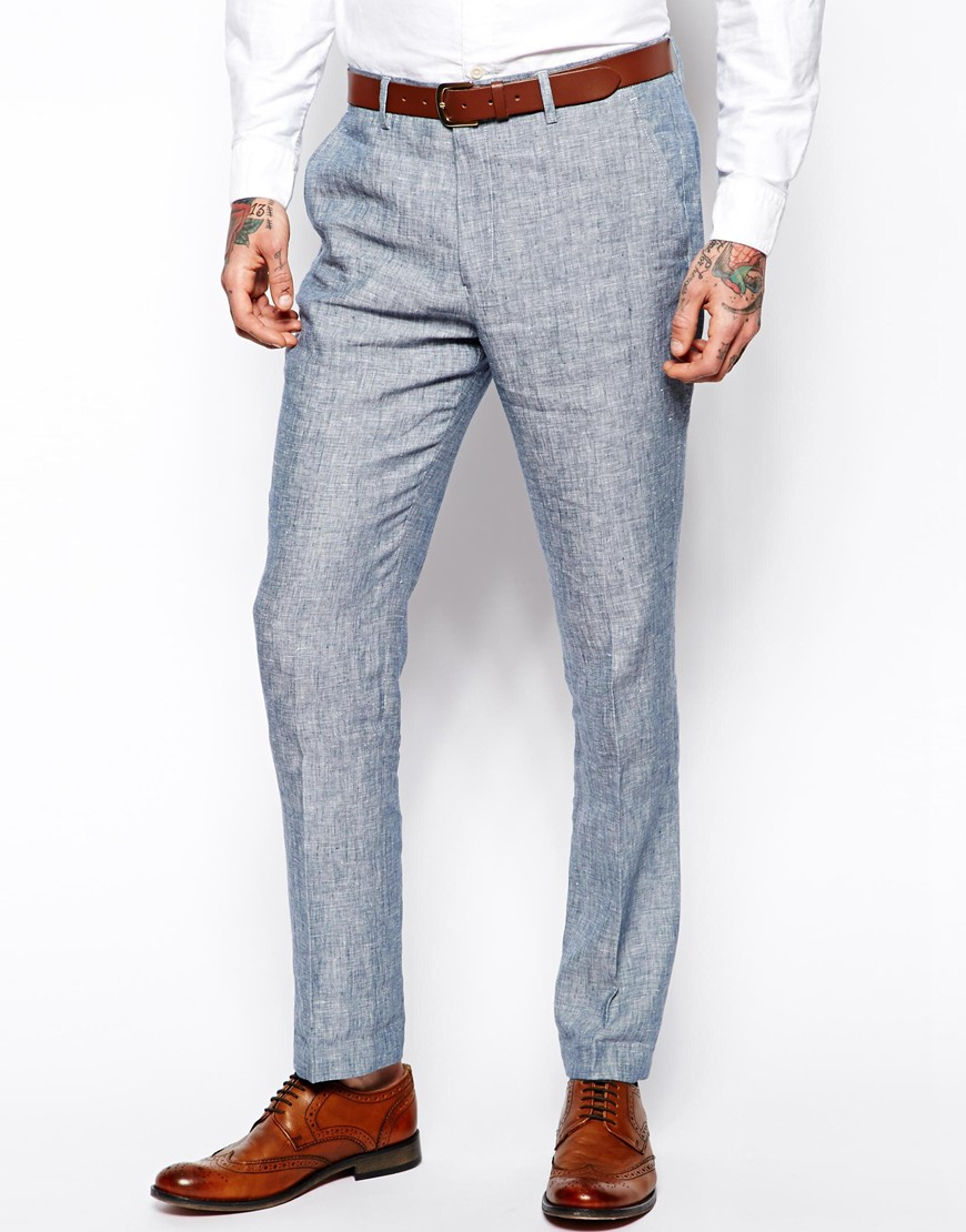 Asos Slim Fit Smart Trousers In Linen in Blue for Men | Lyst