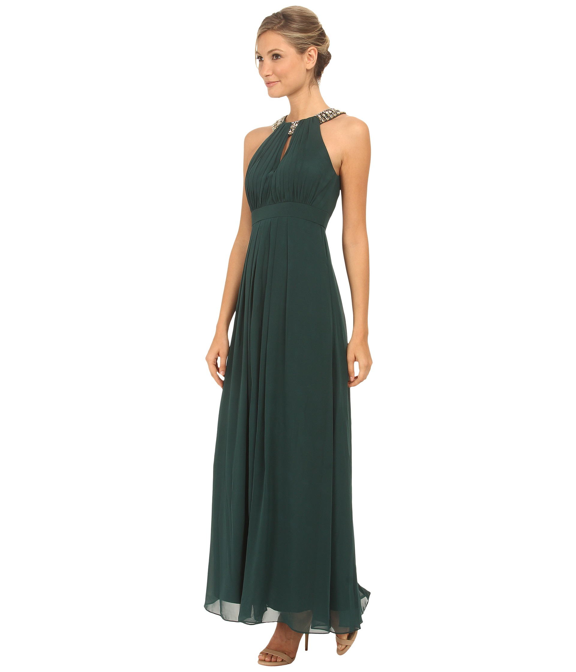 Lyst - Eliza J Beaded Neck Band Chiffon Dress in Green