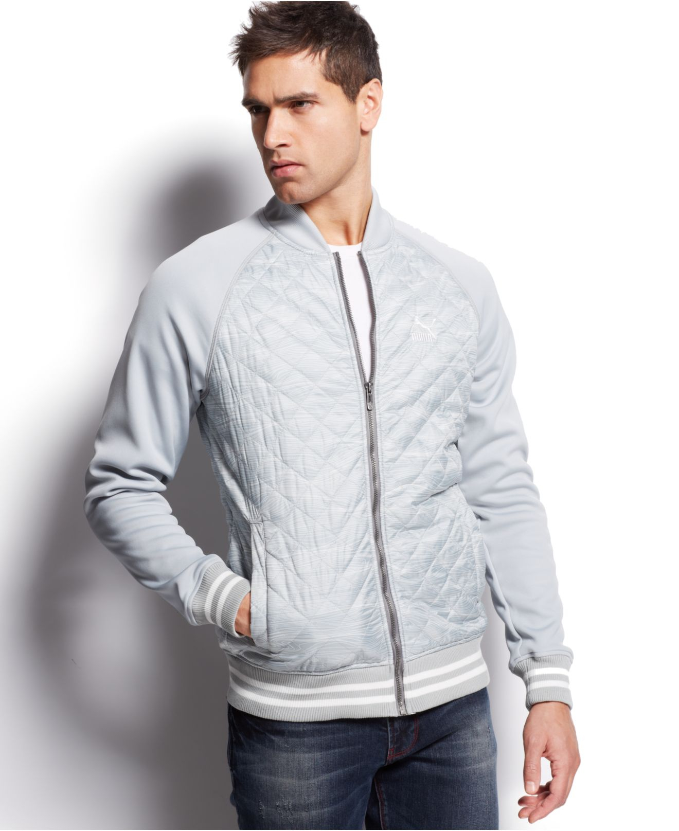 Puma Lifestyle Quilted Bomber Jacket in Gray for Men | Lyst