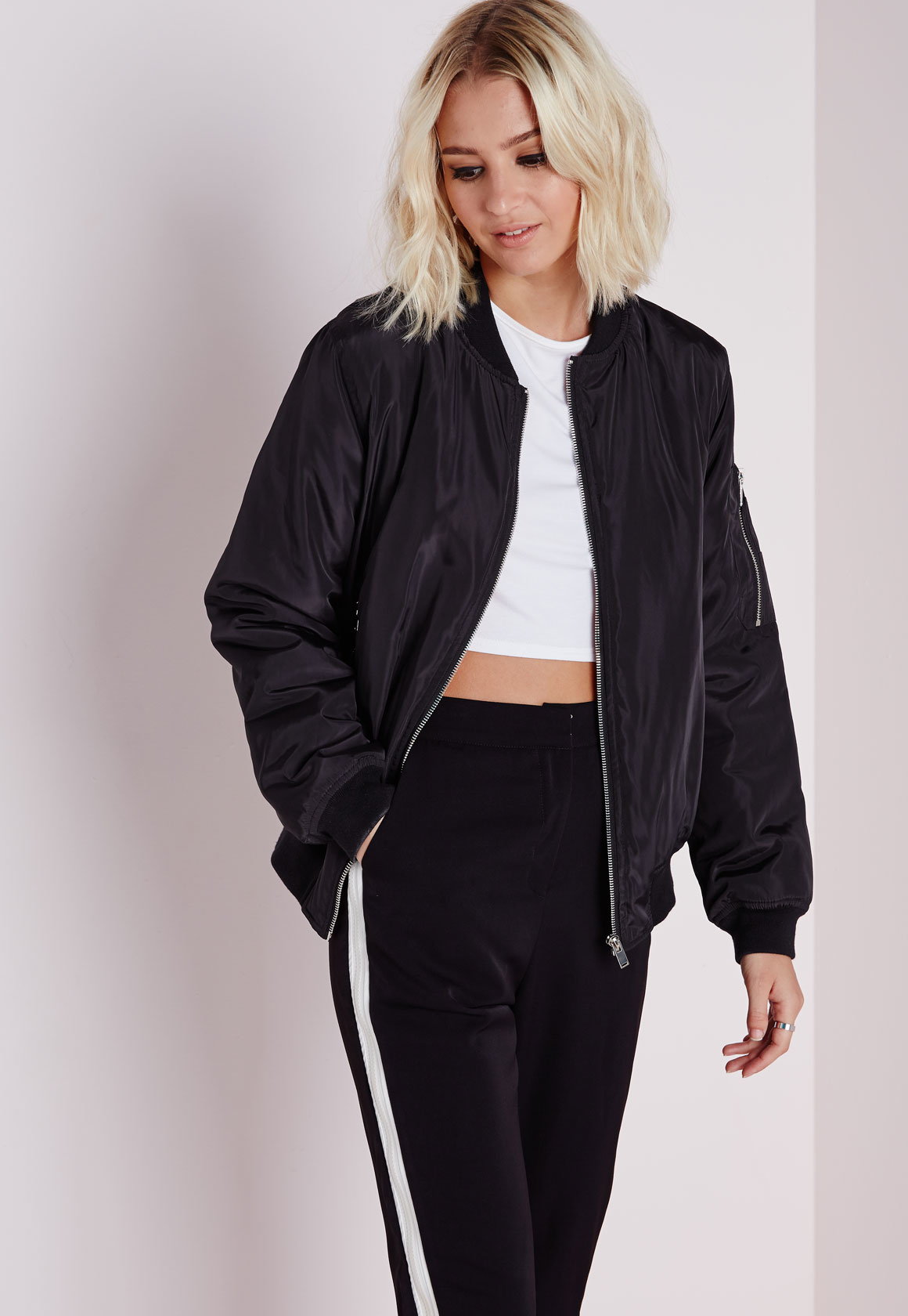 Missguided Padded Bomber Jacket Black in Black | Lyst
