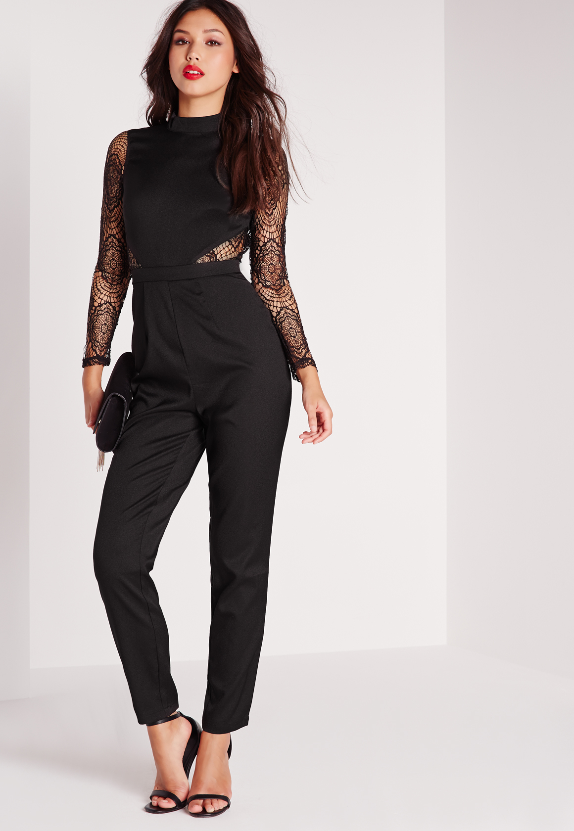 2ef004997e79 Lyst - Missguided Lace High Neck Jumpsuit Black in Black