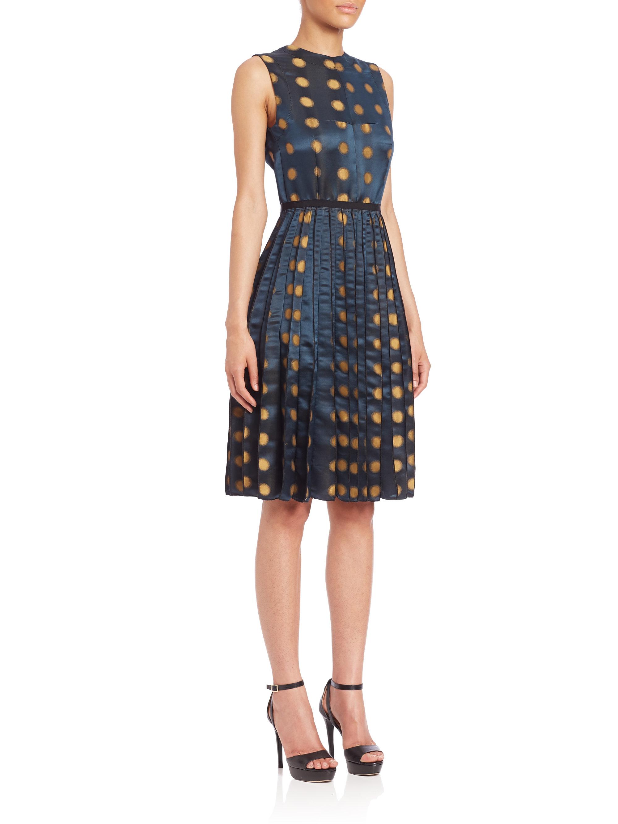 Marc Jacobs Dot Print Satin Dress In Blue Lyst