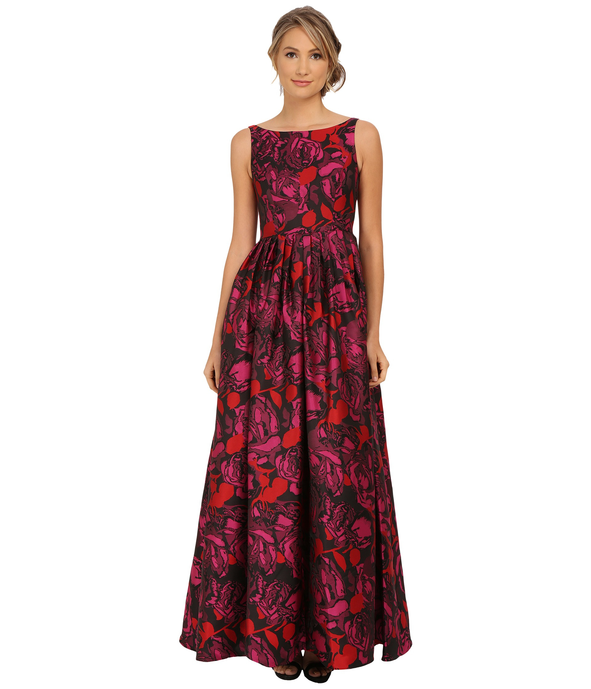 Lyst - Adrianna Papell Sleeveless Floral Jacquard Ball Gown in Red