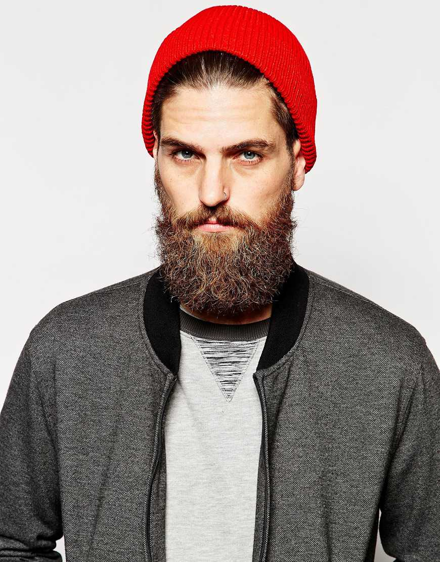 Lyst Asos Fisherman Beanie Hat In Red For Men