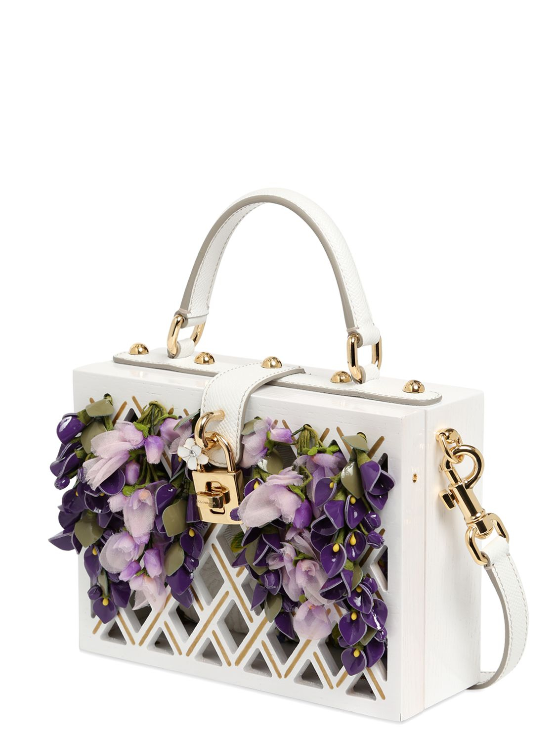 252c837fd5b Dolce & Gabbana Dolce Wooden Bag With Floral Details in White - Lyst