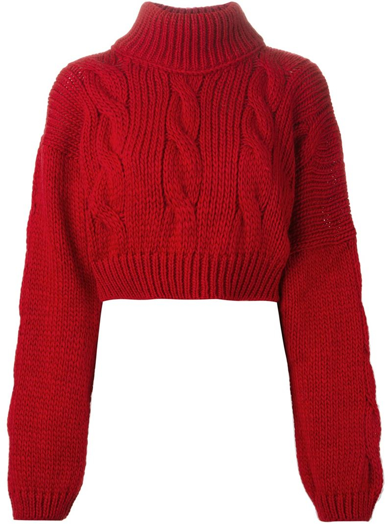 Vivienne westwood anglomania Cropped Cable Knit Sweater in Red | Lyst