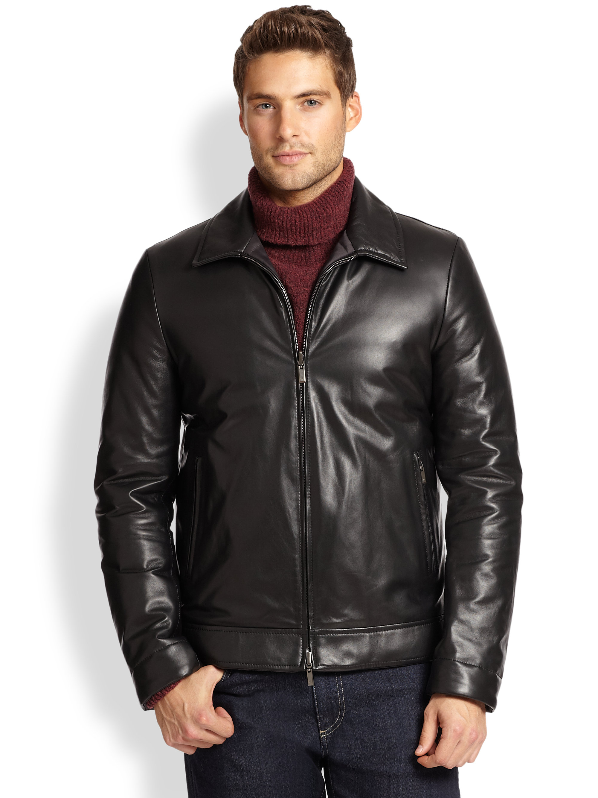 Lyst - Canali Leather Jacket in Black for Men