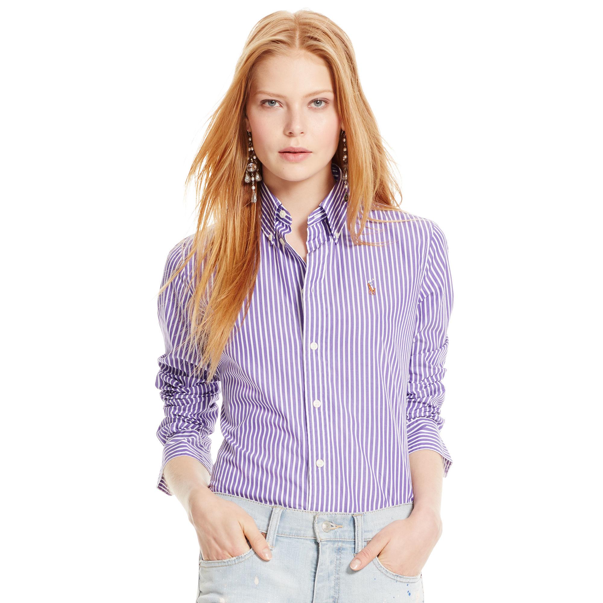 39affa25c941 Polo Ralph Lauren Custom-fit Striped Shirt in Purple - Lyst
