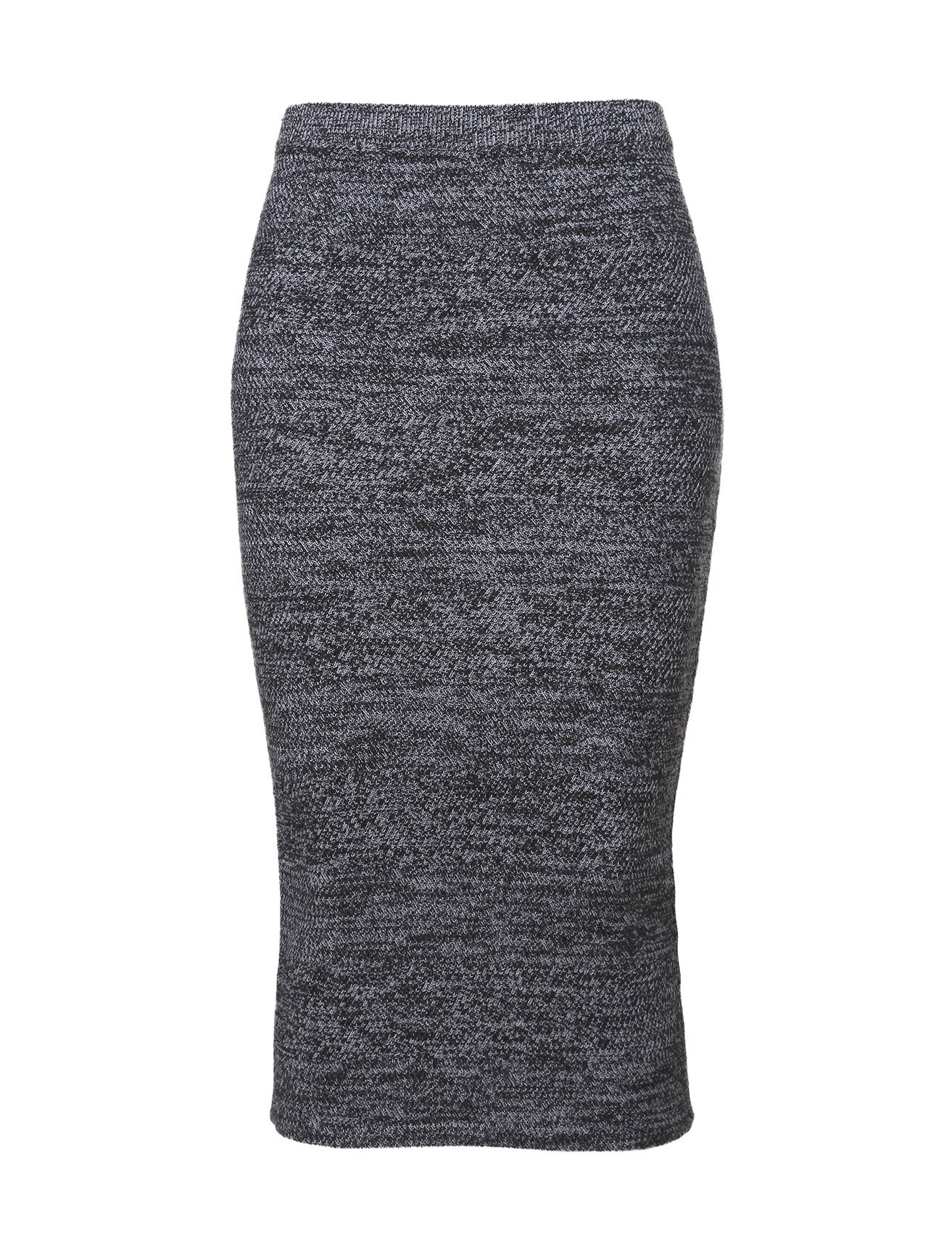 melange knit pencil skirt in gray charcoal
