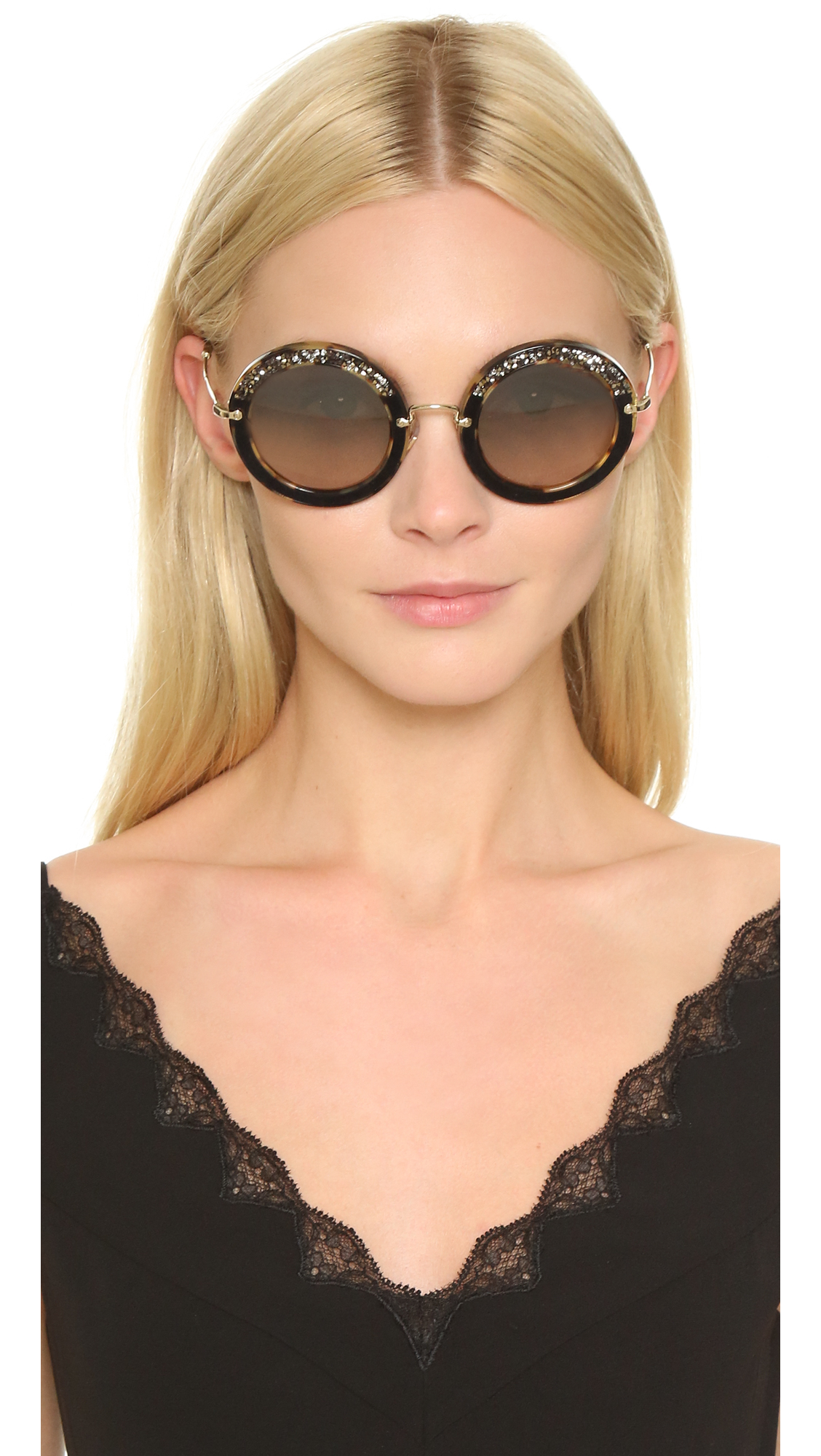 197a516f46f3 Miu Miu Round Crystal Sunglasses in Brown - Lyst