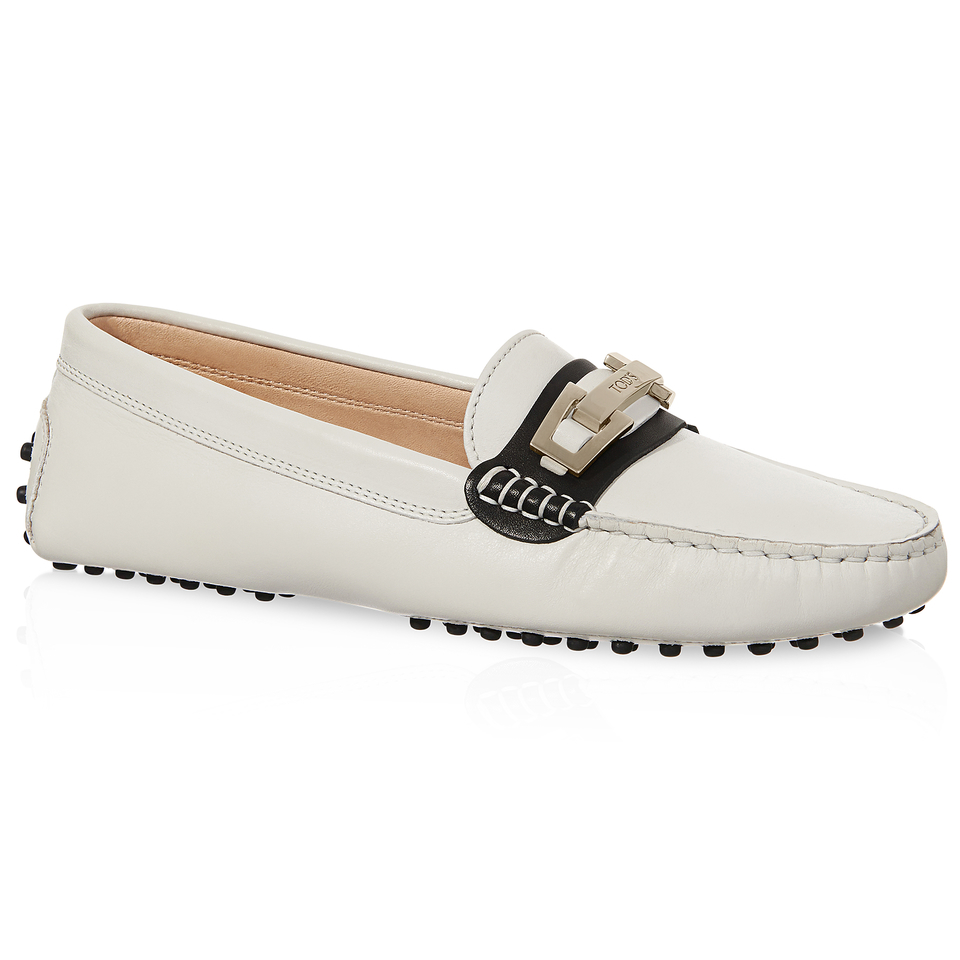 tod s gommino driving shoes in leather in white lyst