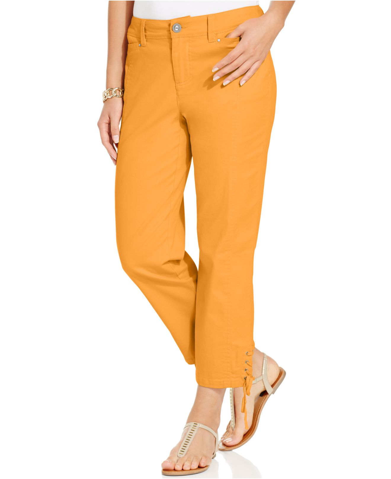 ea5d9c36e59 Lyst - Style   Co. Lace-up Capri Pants in Orange