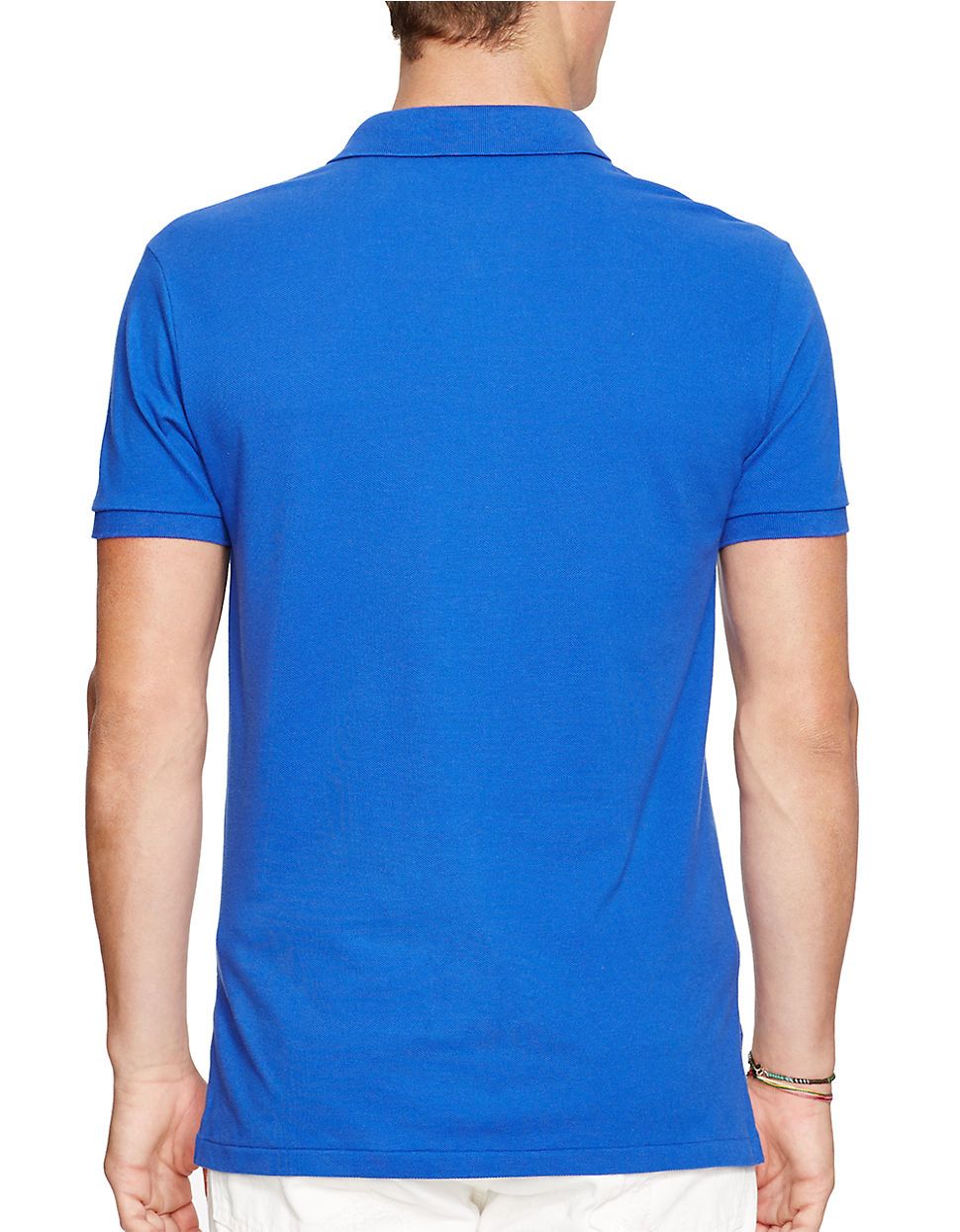 polo ralph lauren slim fit mesh polo shirt in blue for men. Black Bedroom Furniture Sets. Home Design Ideas