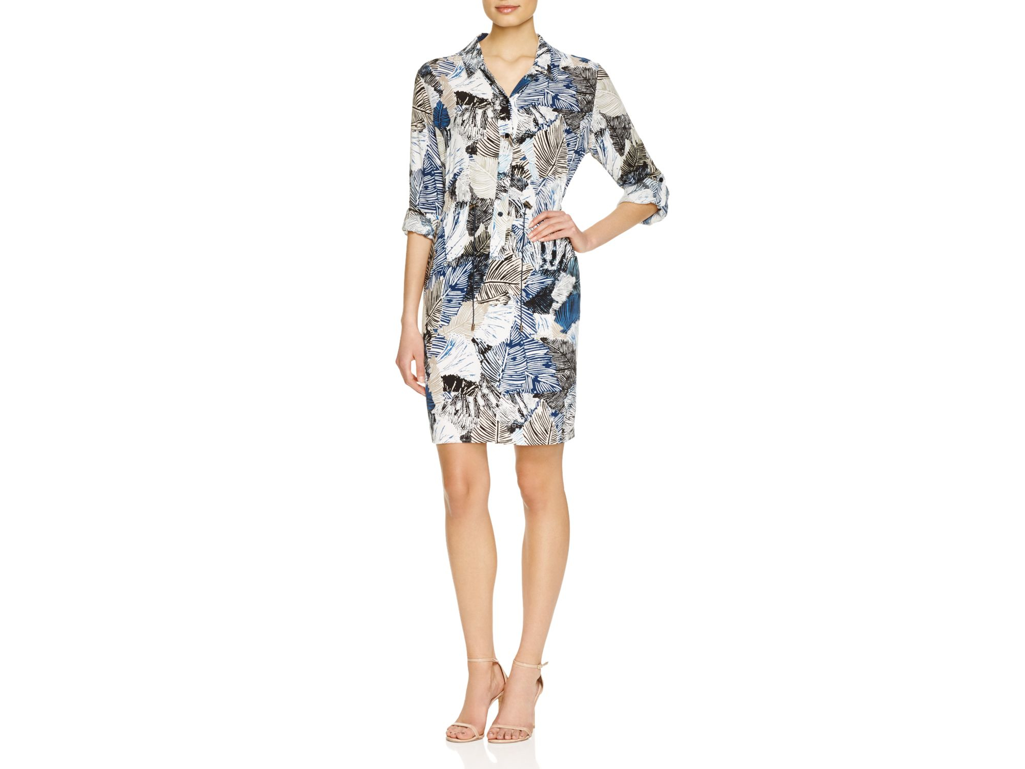 French Connection Lala Tropical Print Shirt Dress Lyst