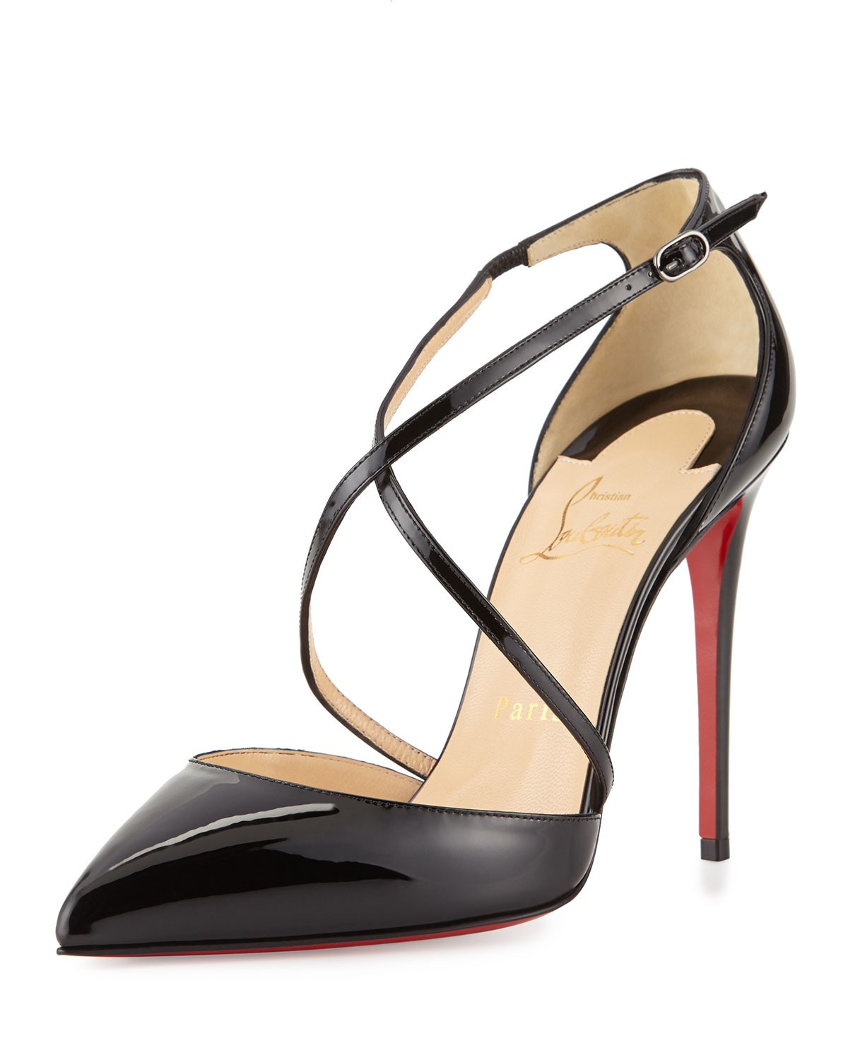 7e142ef5d117 Lyst - Christian Louboutin Cross Blake 100mm Patent Red Sole Pump in ...