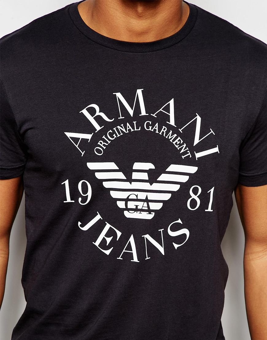 armani jeans rmani jeans t shirt with eagle logo in slim. Black Bedroom Furniture Sets. Home Design Ideas
