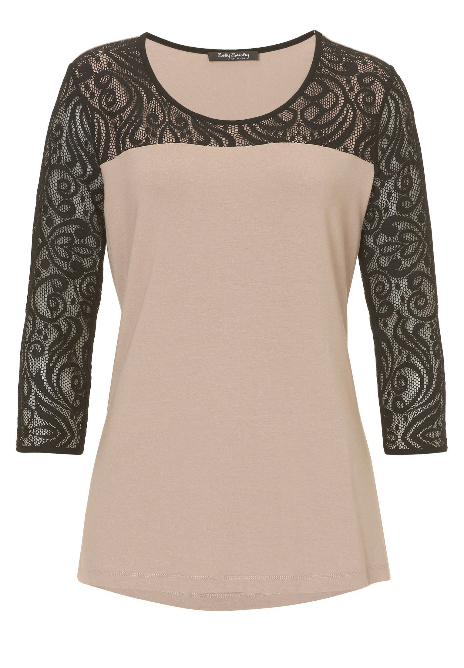 Lyst betty barclay jersey and lace top in black for Betty barclay