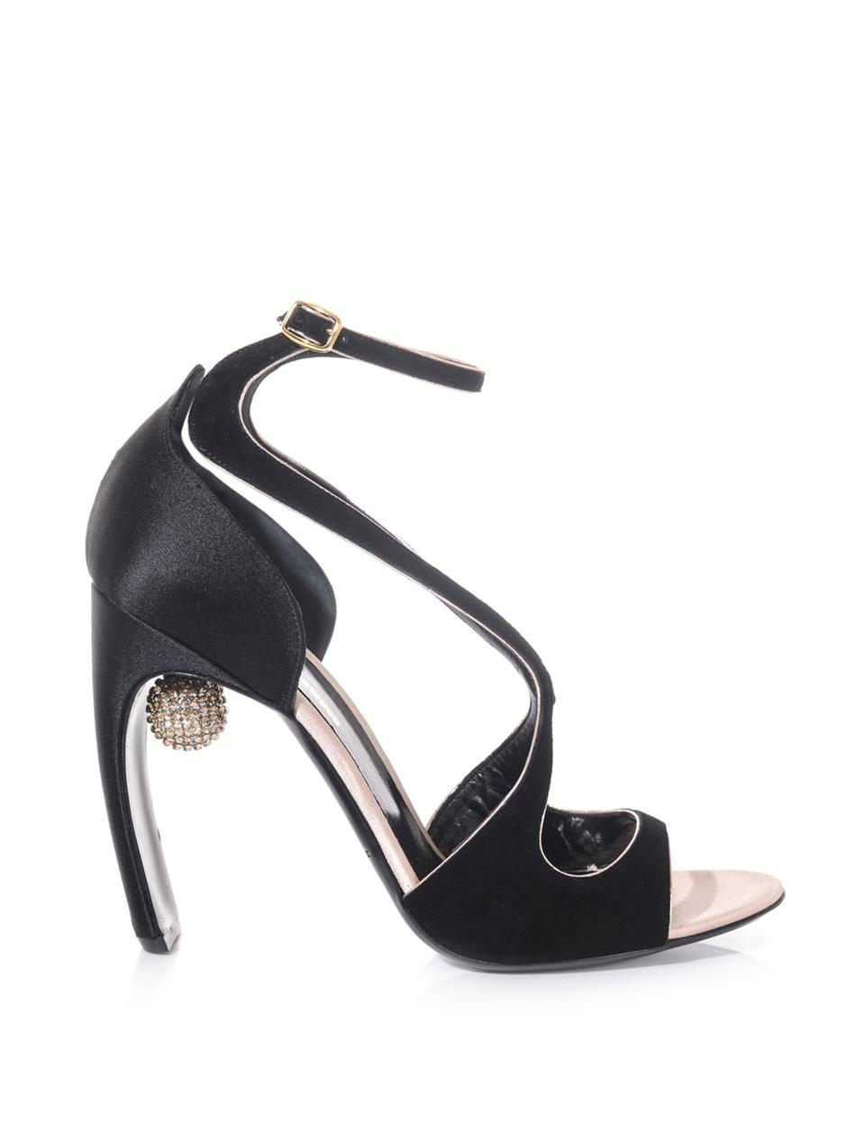 Nicholas Kirkwood Suede Satin And Crystal Ball Sandals In