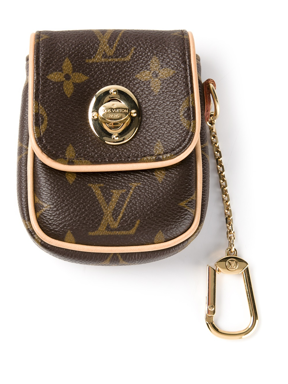 lyst louis vuitton mini pouch keyring in brown