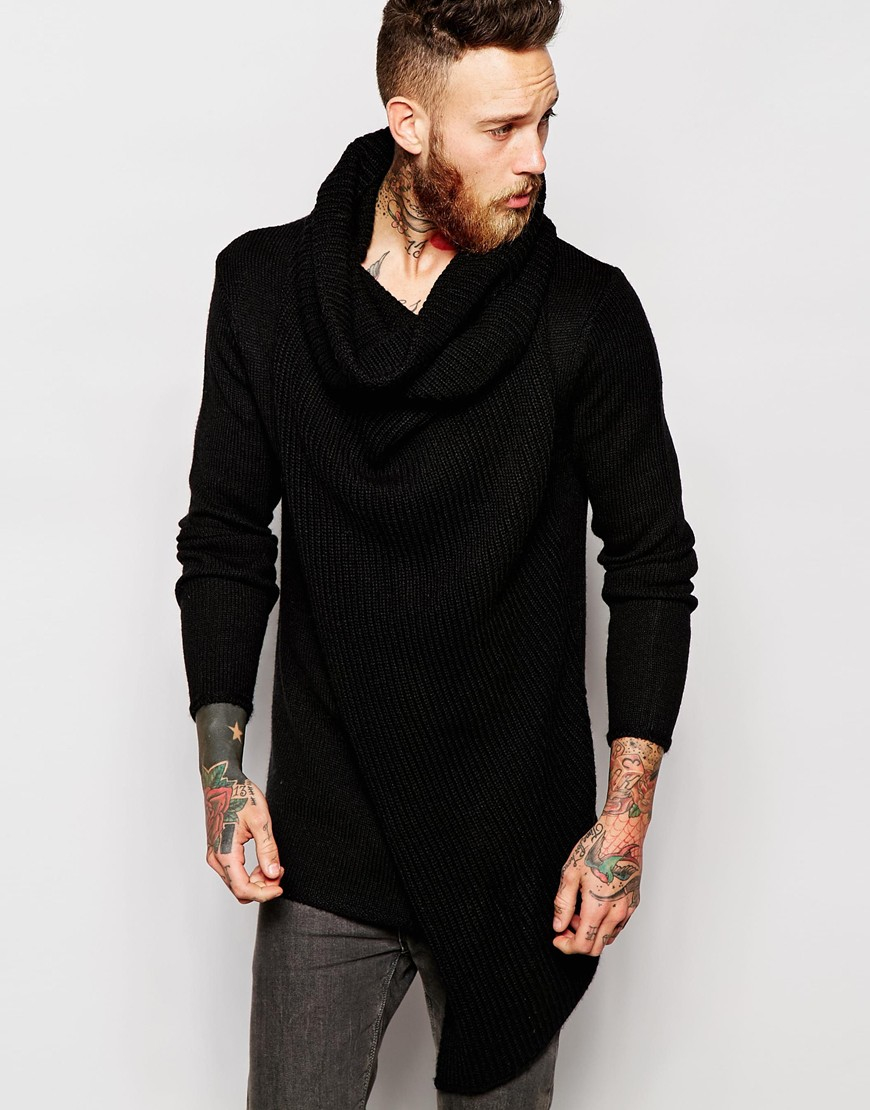 Asos Jumper With Oversized Cowl Neck in Black for Men | Lyst