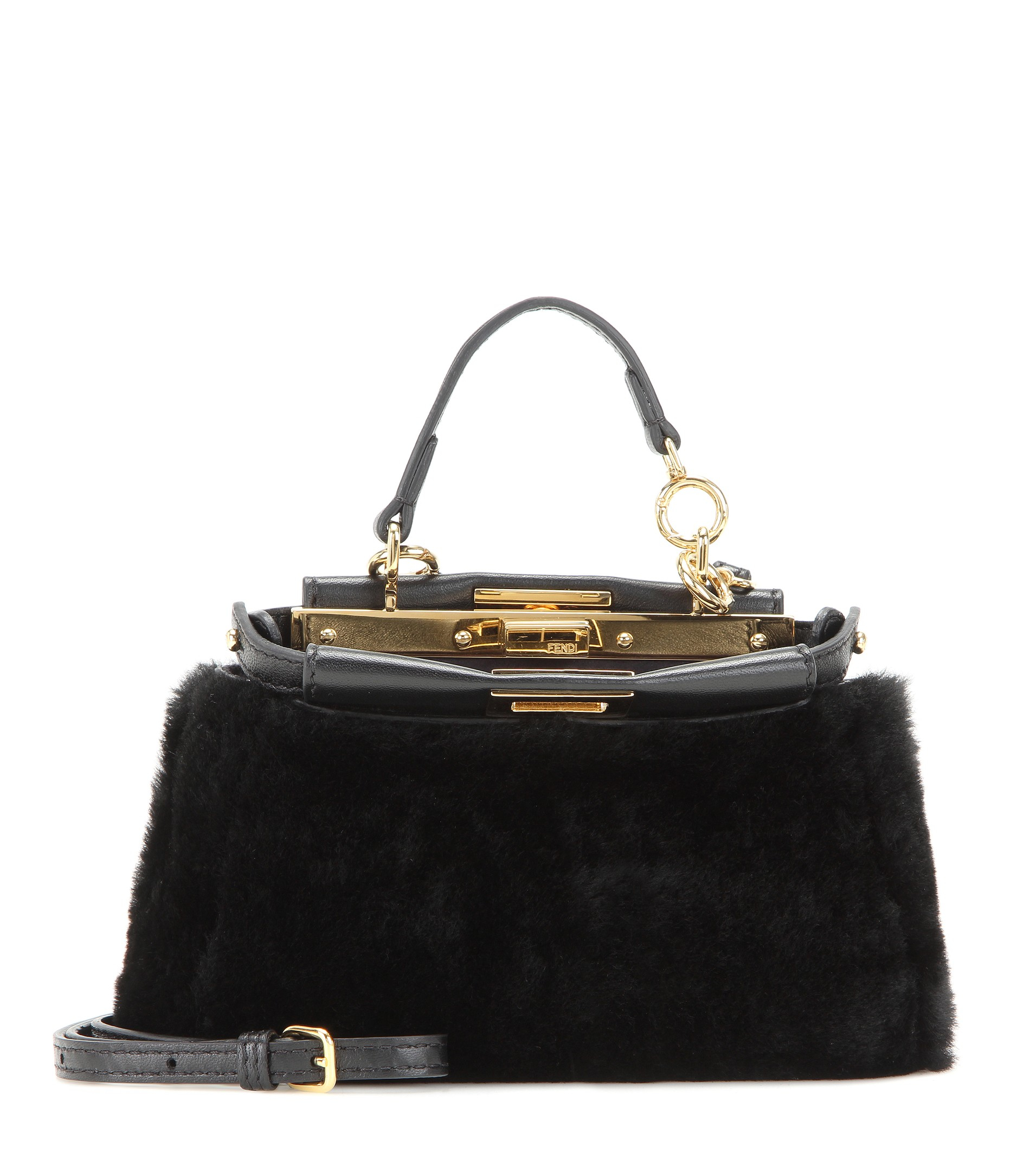 2013bd002c Lyst - Fendi Micro Peekaboo Shearling Shoulder Bag in Black