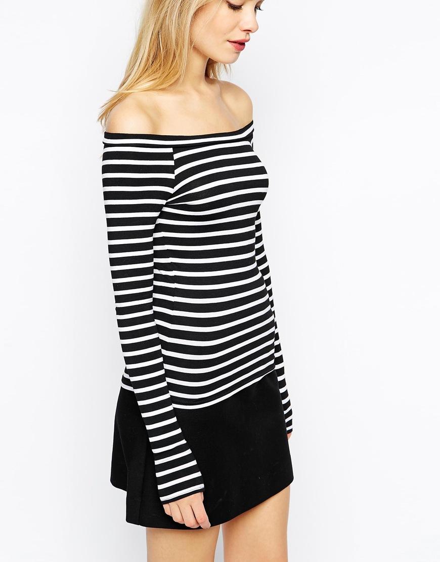 62c15714524d9b Lyst - ASOS Stripe Off Shoulder Top With Long Sleeve in Black
