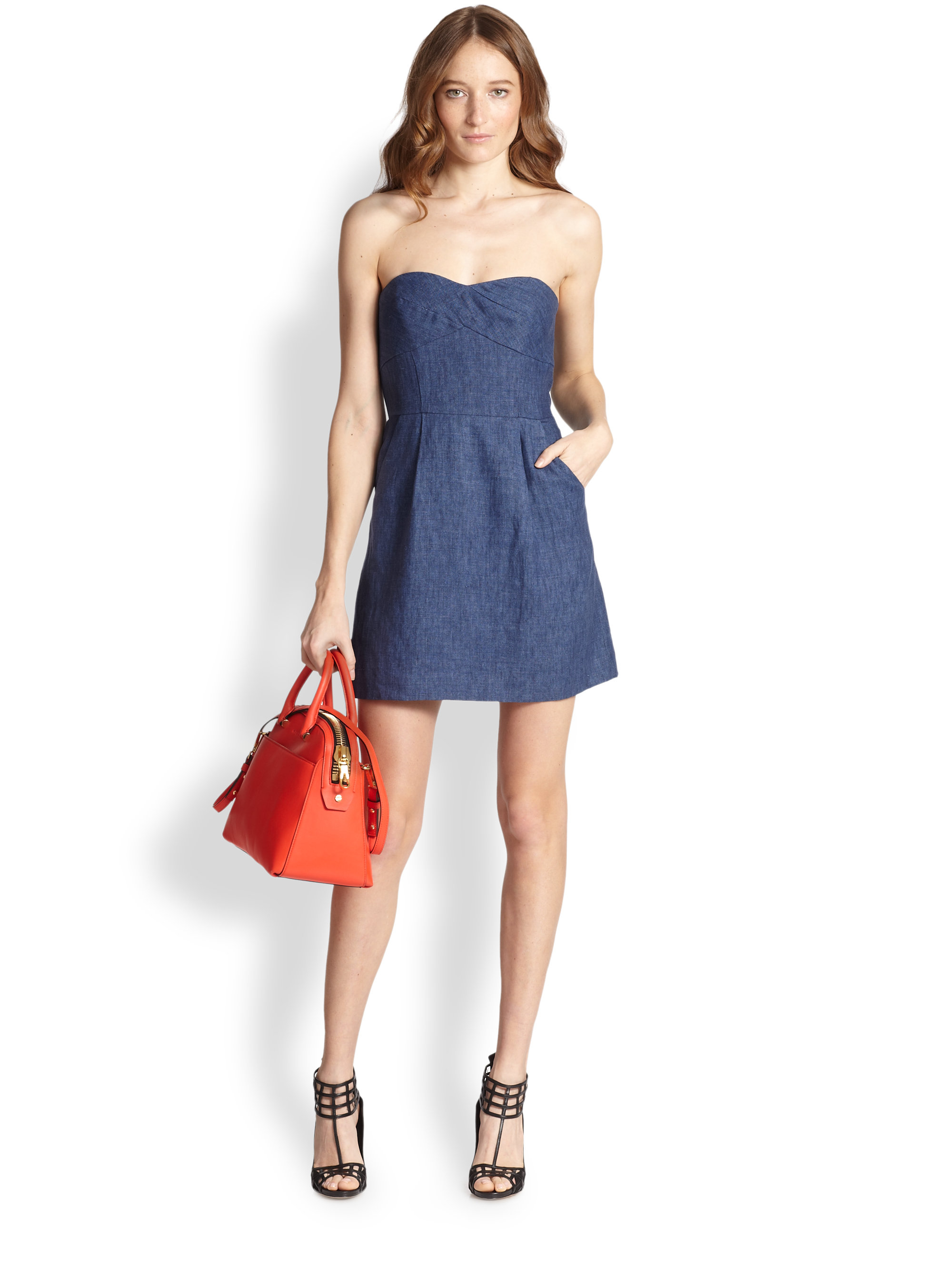 Milly Strapless Linen Chambray Dress in Blue | Lyst