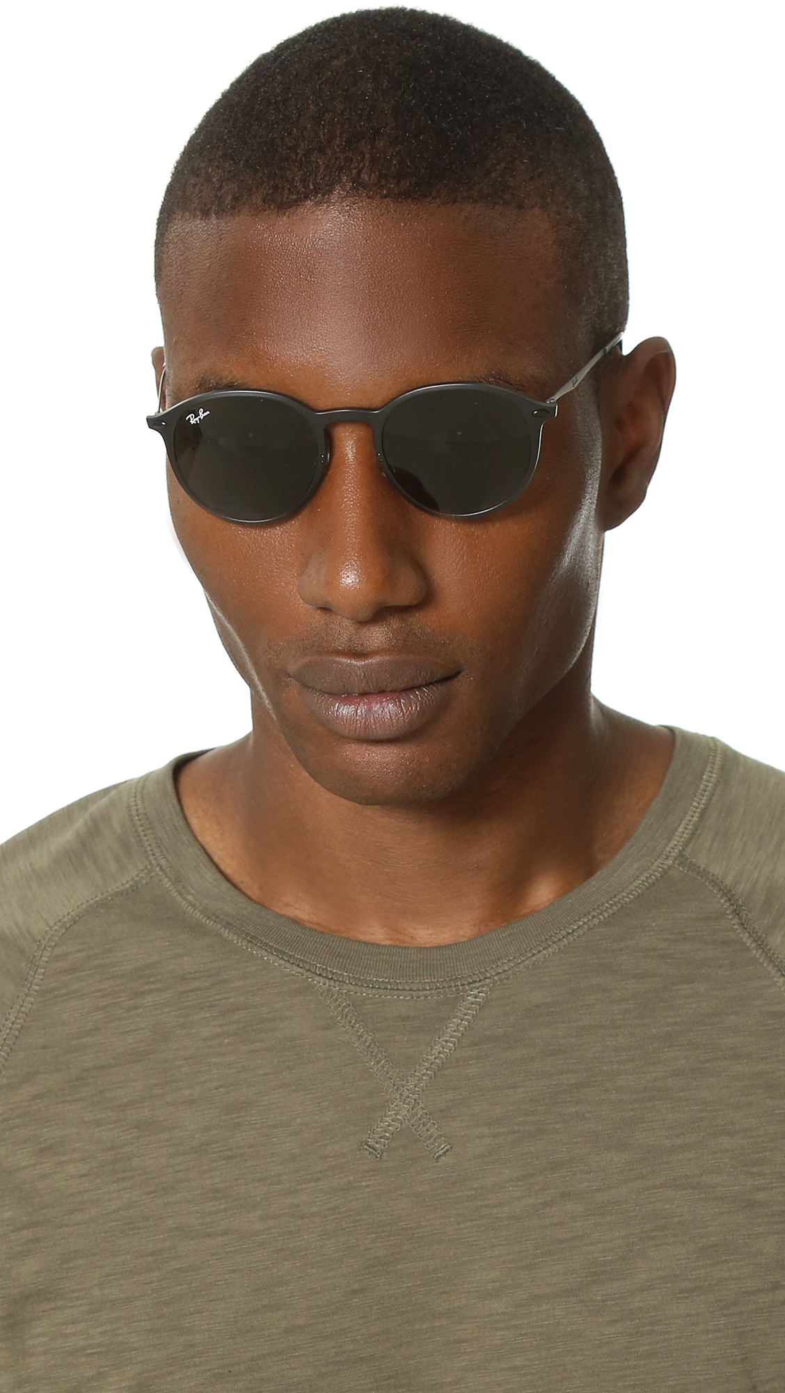 Lyst - Ray-Ban Lightweight Round Sunglasses With Flash ...