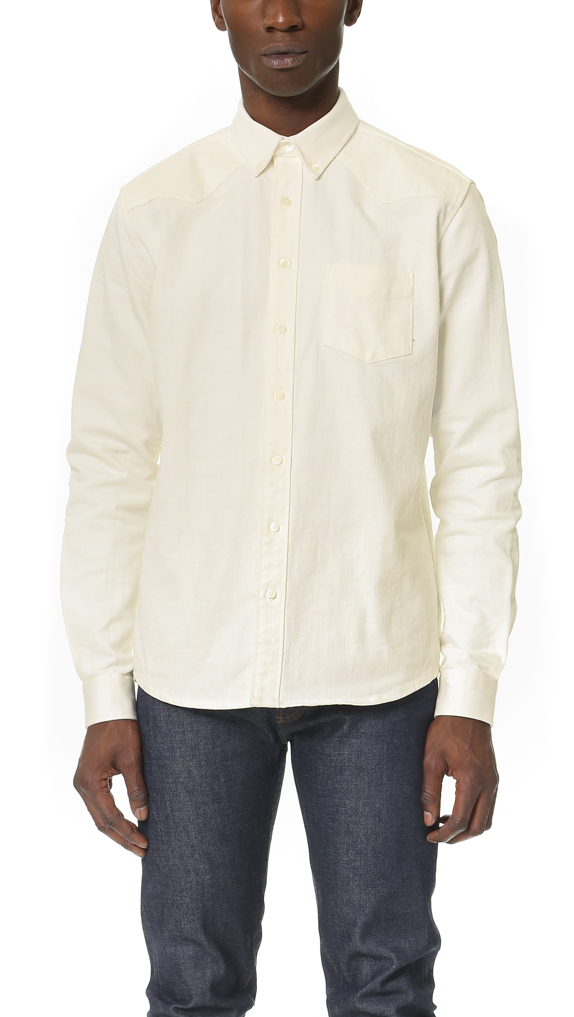 Schnayderman's Leisure Western Jean Shirt in White for Men | Lyst
