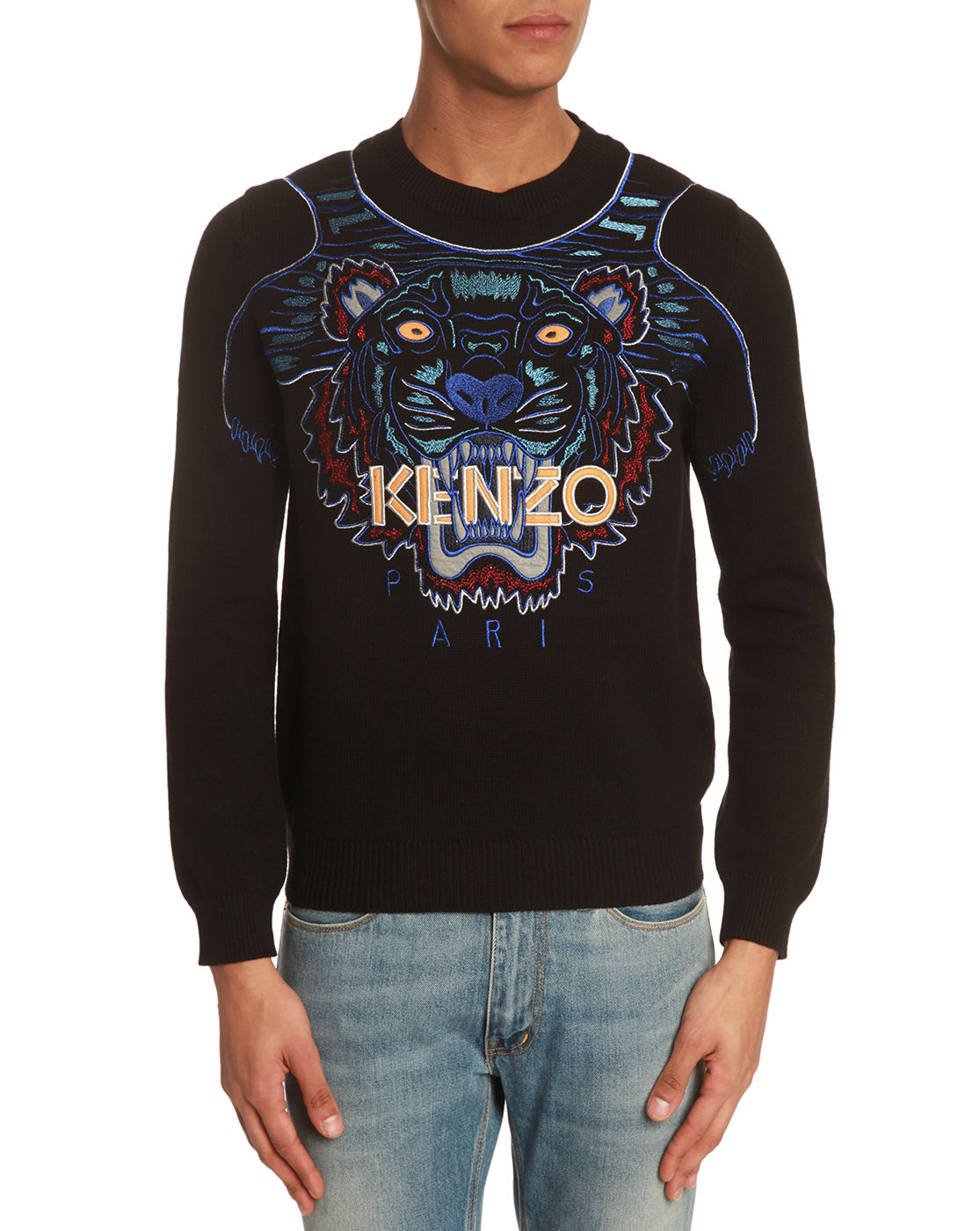 kenzo embroidered tiger black sweater in black for men lyst. Black Bedroom Furniture Sets. Home Design Ideas