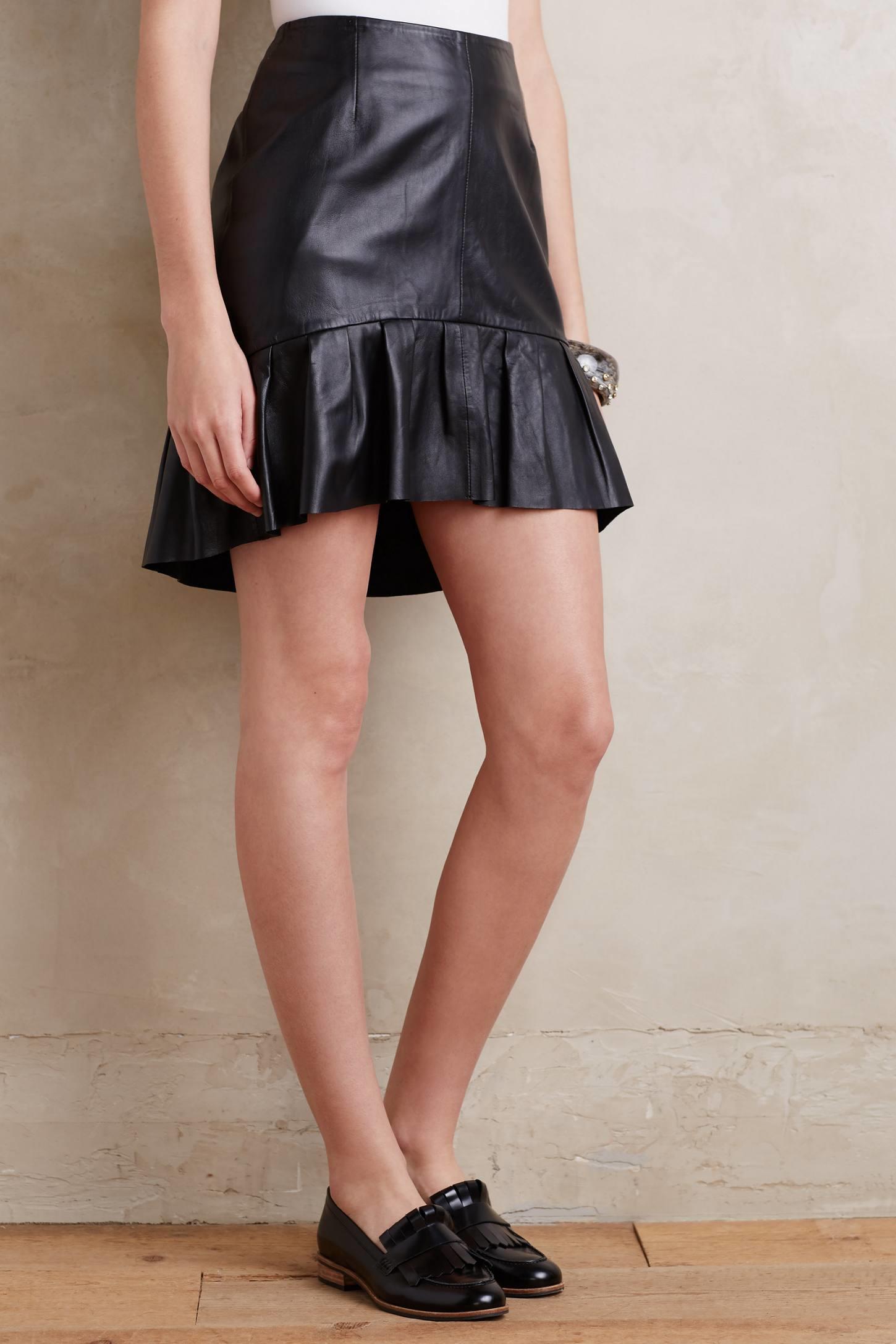 anthropologie flounced leather mini skirt in black lyst