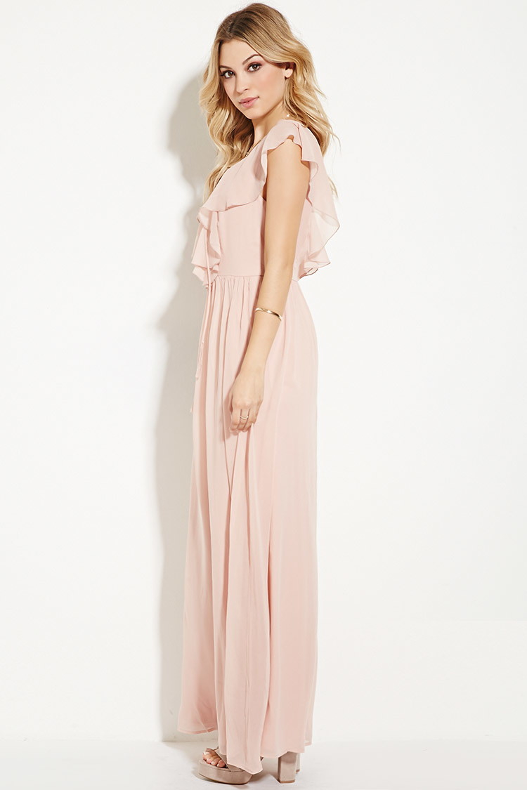 565687eece Lyst - Forever 21 Ruffled Chiffon Maxi Dress in Pink