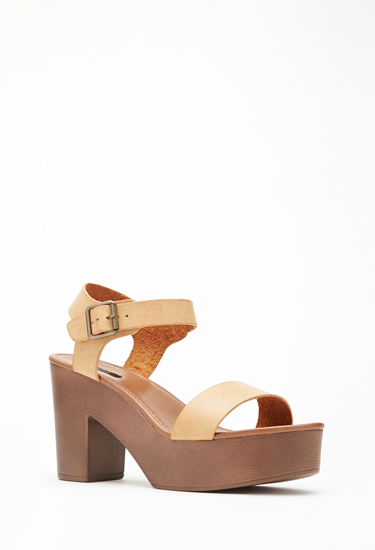 99f5e75f773 Lyst - Forever 21 Faux Leather Strappy Platform Sandals in Brown