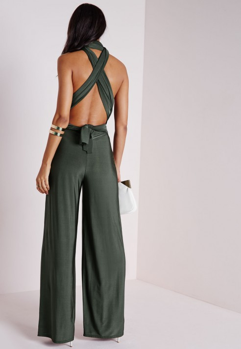 421b03a8c18 Lyst - Missguided Do It Any Way Multiway Jumpsuit Khaki in Green