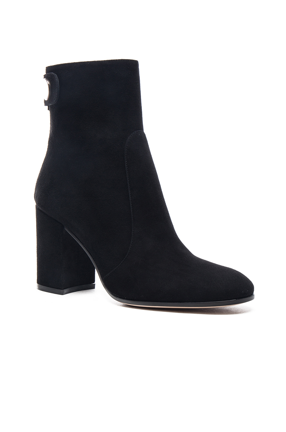 Gianvito rossi Suede Chunky Heel Boots in Black | Lyst