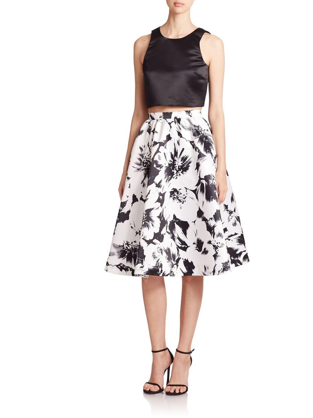 Parker Floral Satin A-line Skirt | Lyst