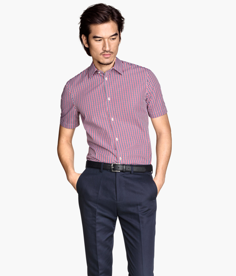 H&m Shirt In Premium Cotton in Red for Men | Lyst