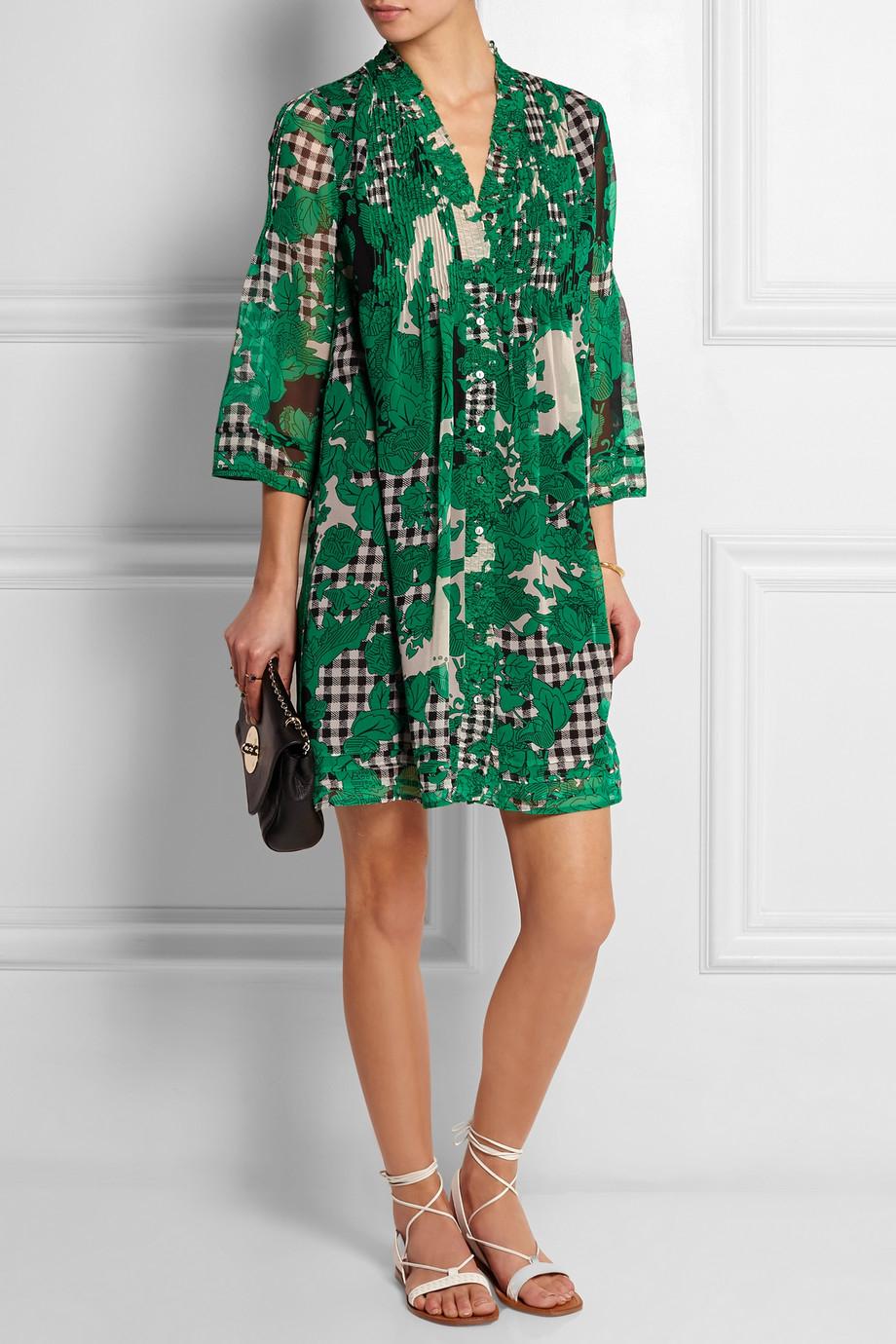 Lyst Diane Von Furstenberg Printed Silk Chiffon Dress