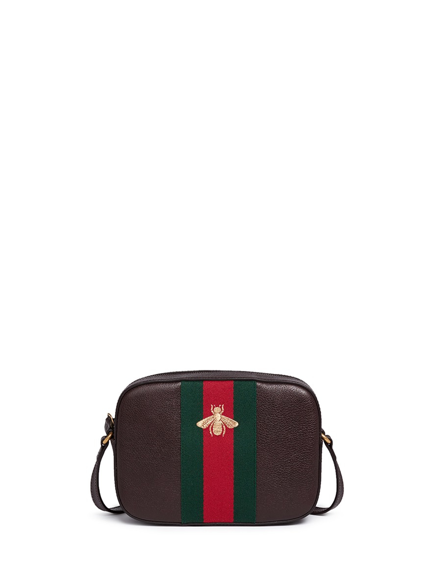 64e3d552efc Lyst - Gucci  webby  Bee Embroidery Web Leather Crossbody Bag in Brown