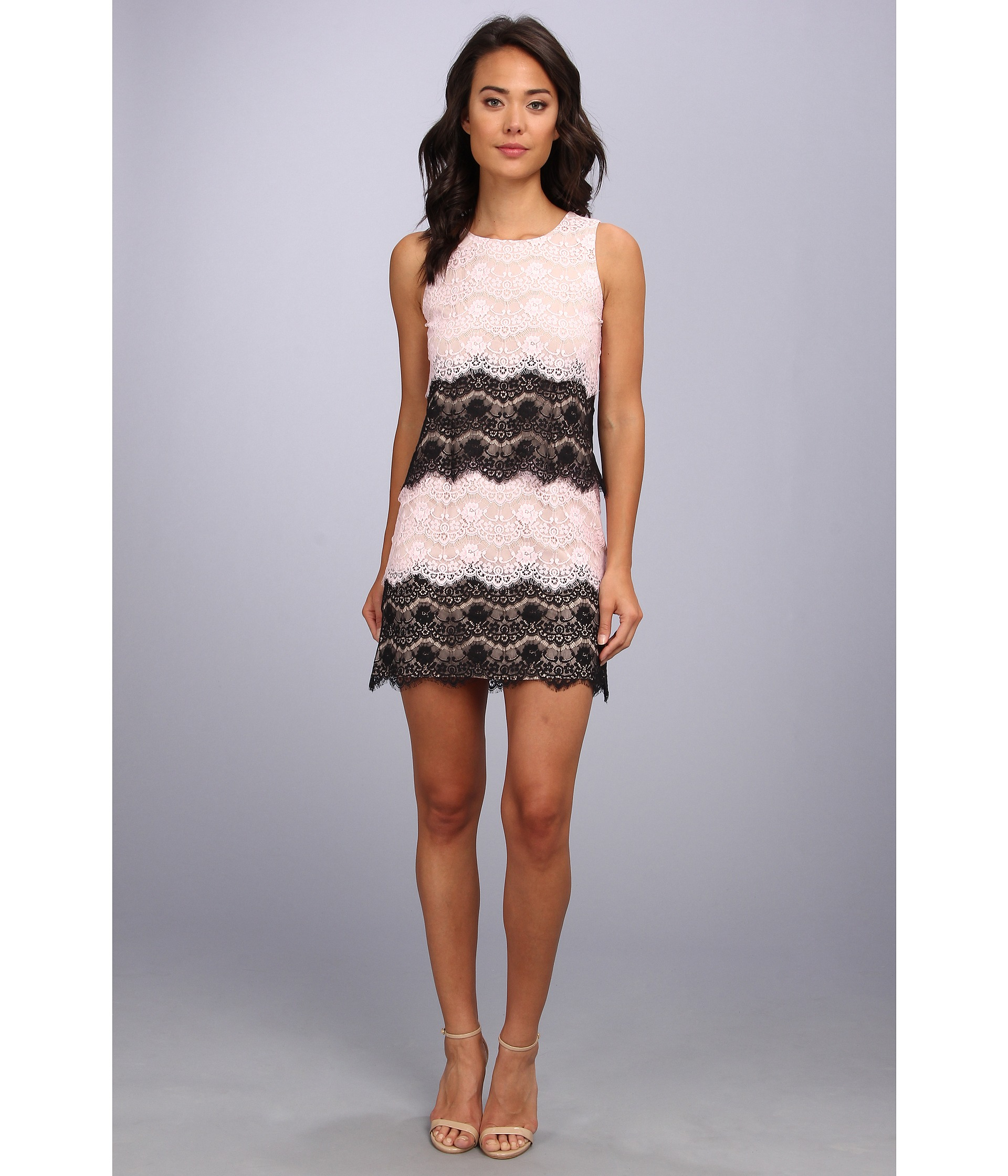 Jessica simpson Scallop Lace Tier Dress in Pink - Lyst