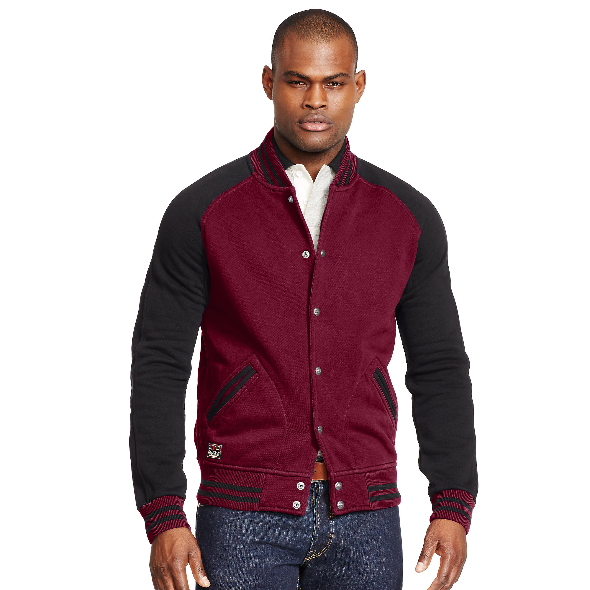 Polo ralph lauren Fleece Baseball Jacket in Purple for Men | Lyst