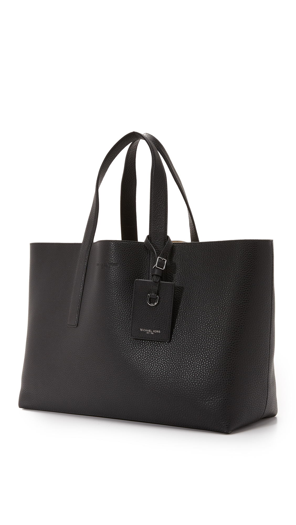 3e7b20c15e77dc Michael Kors Mason East West Reversible Leather Tote in Black for ...