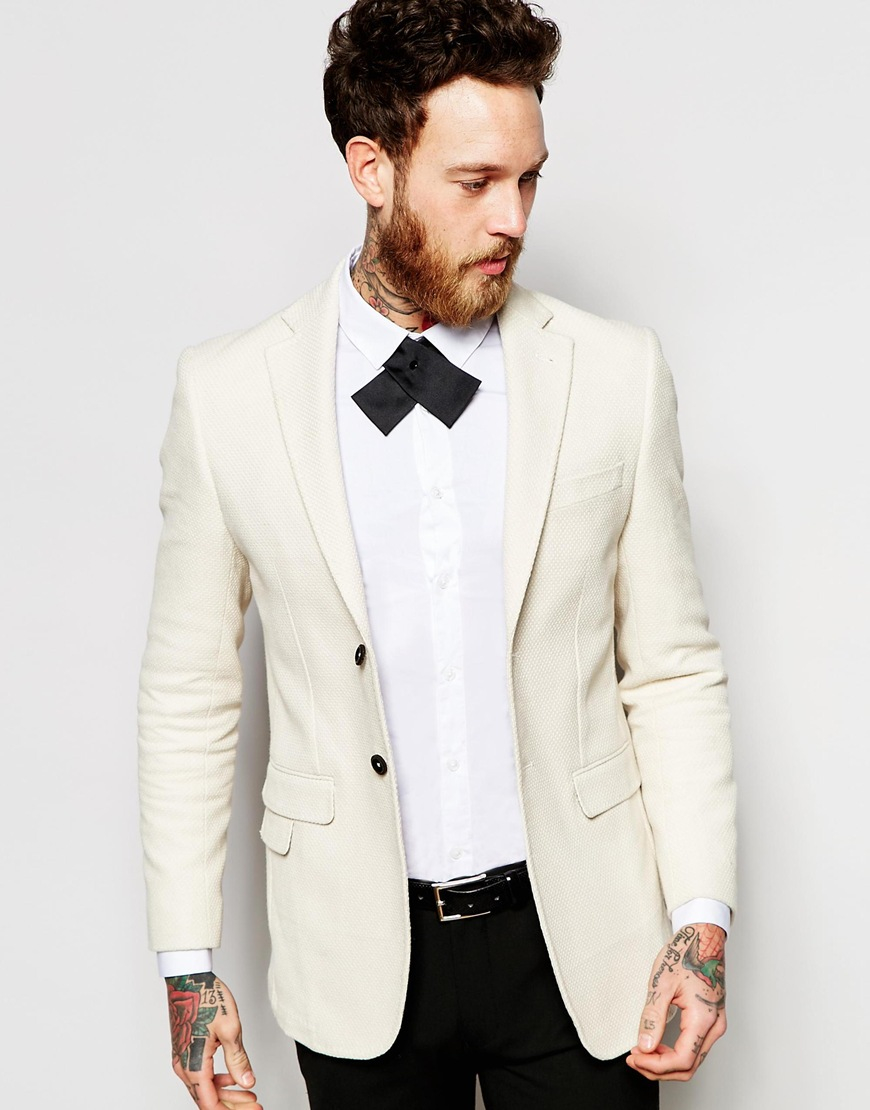 F 233 Raud Cream Blazer In White For Men Lyst
