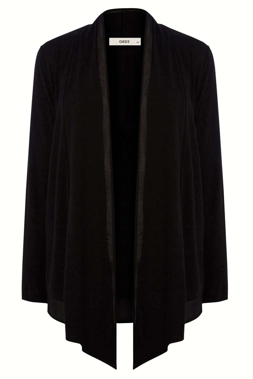 Oasis Chiffon Trim Cardigan in Black | Lyst