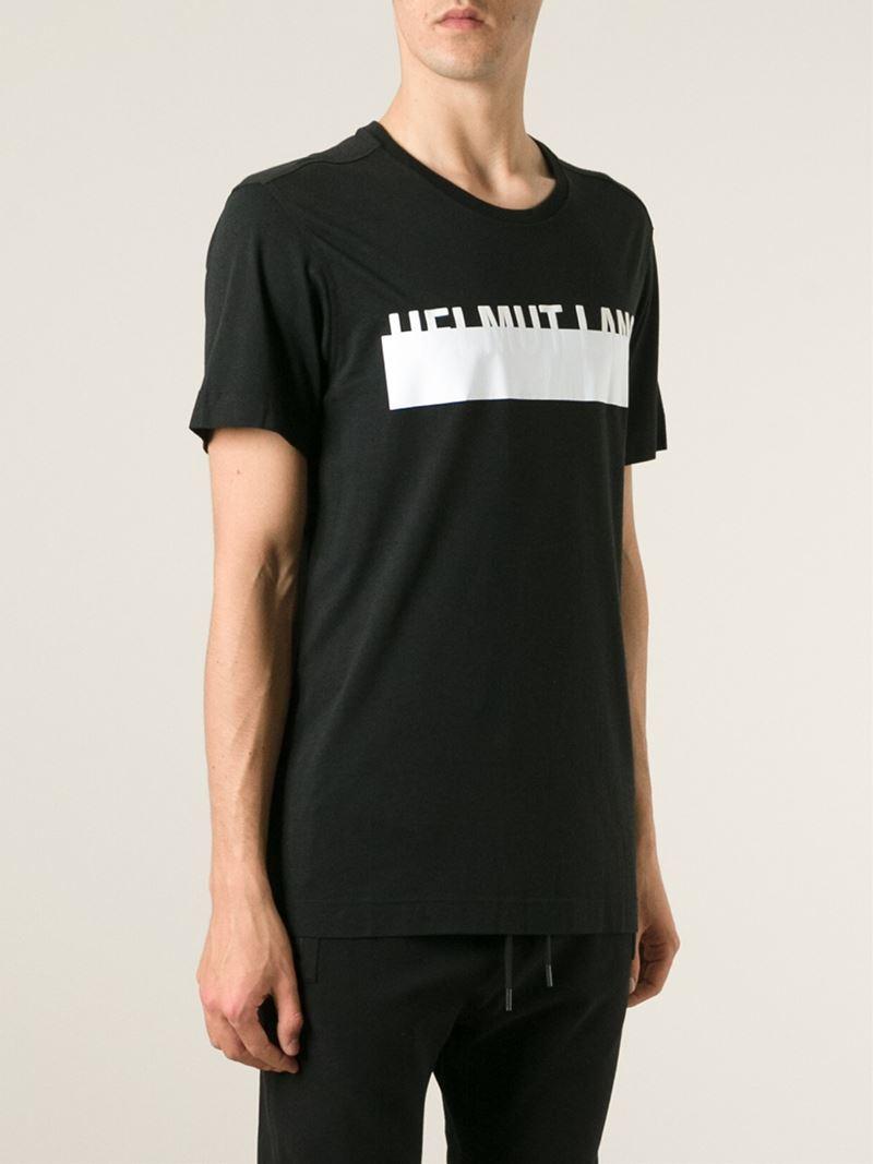 helmut lang logo print t shirt in black for men lyst. Black Bedroom Furniture Sets. Home Design Ideas