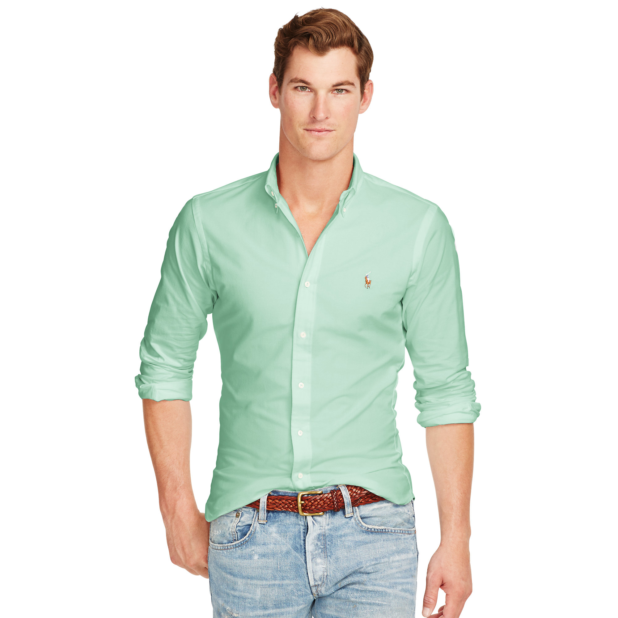 Lyst polo ralph lauren slim fit stretch oxford shirt in for Mens slim fit polo shirt