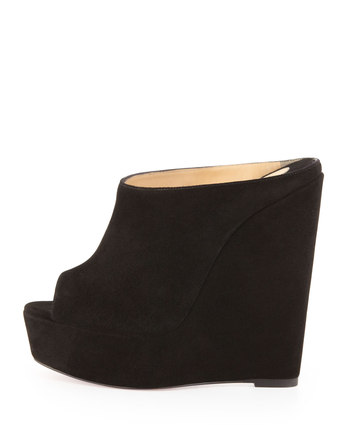 christian louboutin knock offs - christian louboutin slide espadrille wedges Black suede | The ...