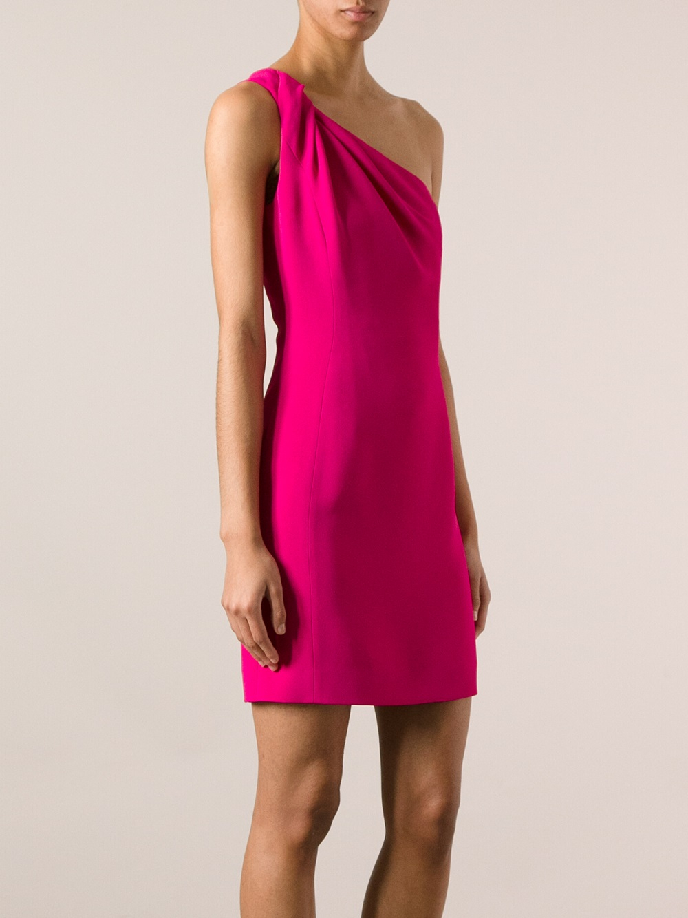 Saint laurent One Shoulder Dress in Pink | Lyst