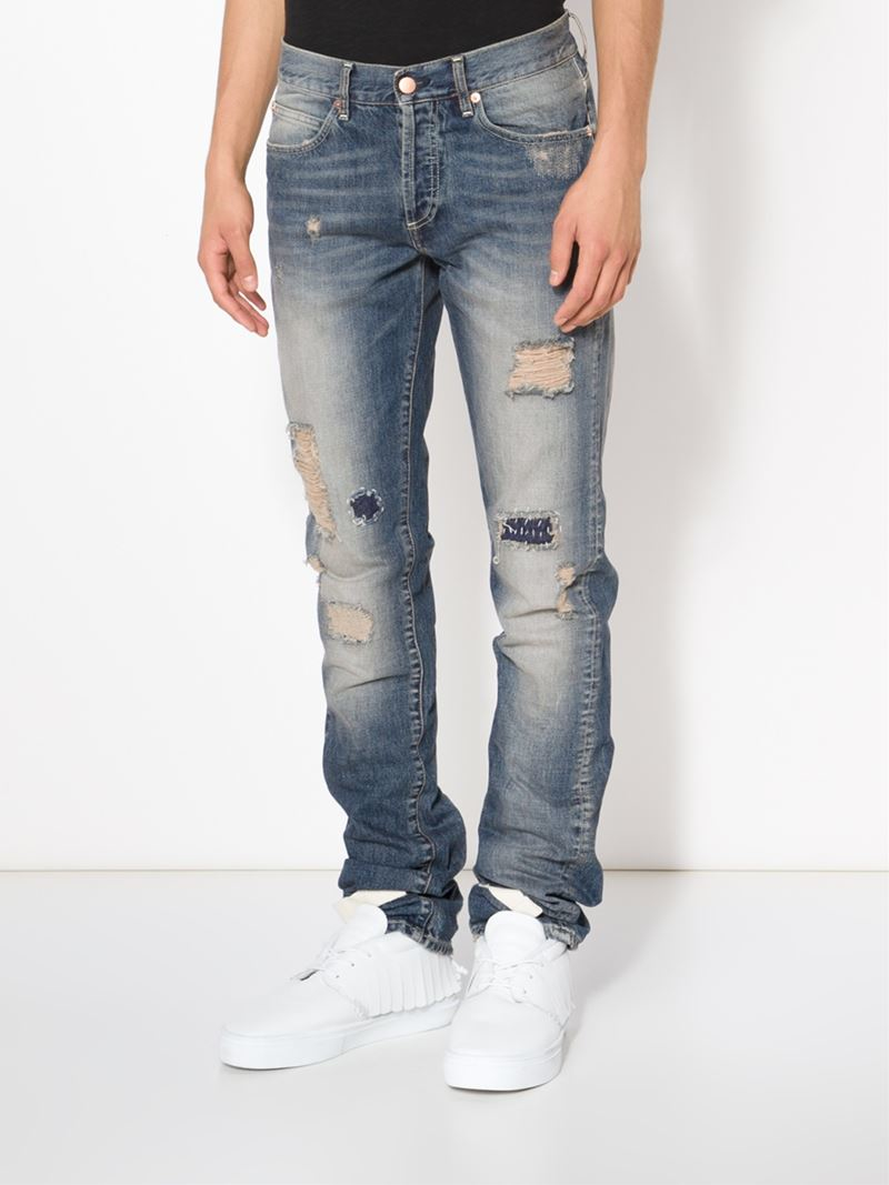 Off-white c/o virgil abloh Distressed Jeans in Blue for Men | Lyst